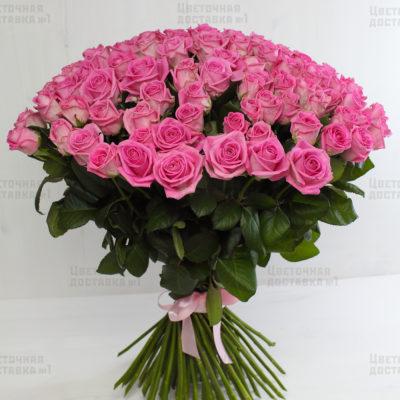 101 розовая роза с доставкой СПб