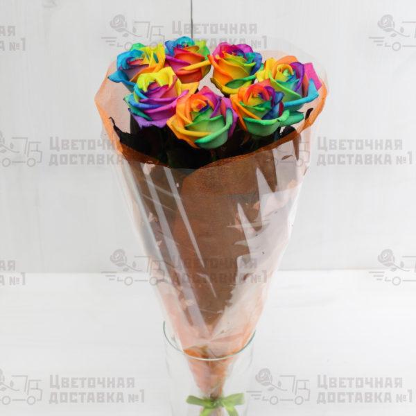 Радужная роза в букете, доставка по Санкт-Петербургу