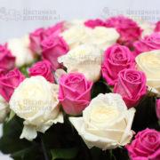 Белая и розовая роза в букете 51 роза