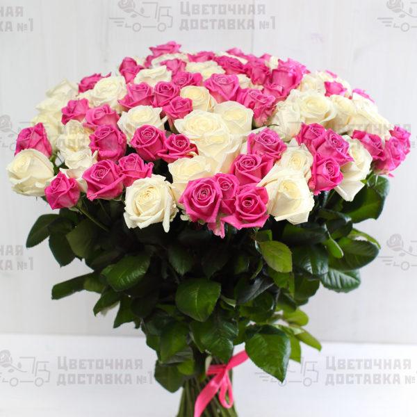 101 белая и розовая роза в СПб